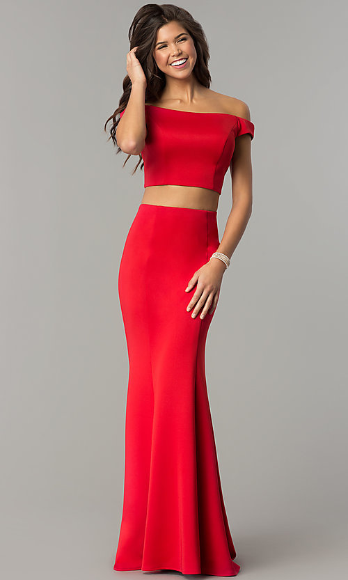 Image of red two-piece off-the-shoulder prom dress. Style: DJ-A6153 Front Image