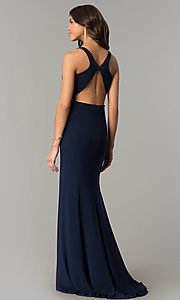 Image of navy blue long racerback prom dress with slit. Style: DJ-A6521 Back Image
