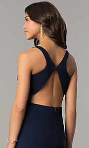 Image of navy blue long racerback prom dress with slit. Style: DJ-A6521 Detail Image 2