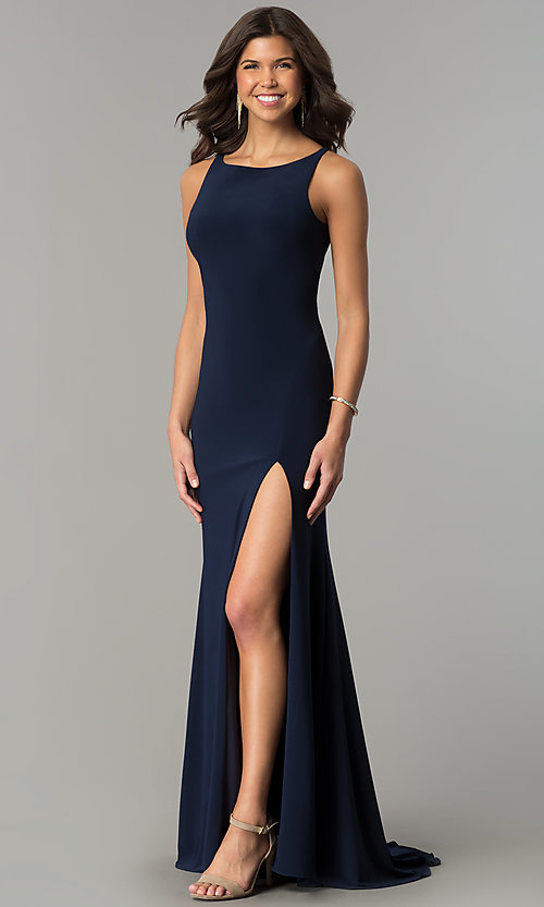 Image of navy blue long racerback prom dress with slit. Style: DJ-A6521 Front Image