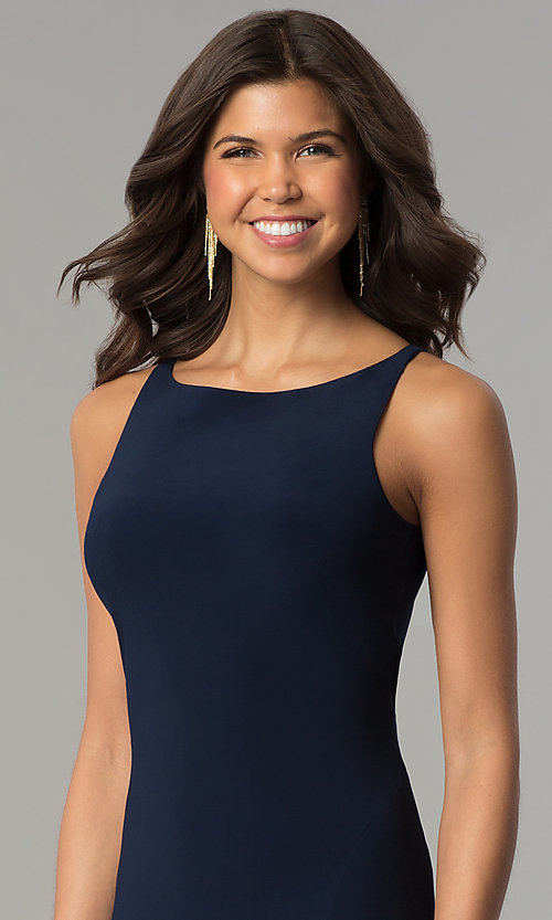 Image of navy blue long racerback prom dress with slit. Style: DJ-A6521 Detail Image 1