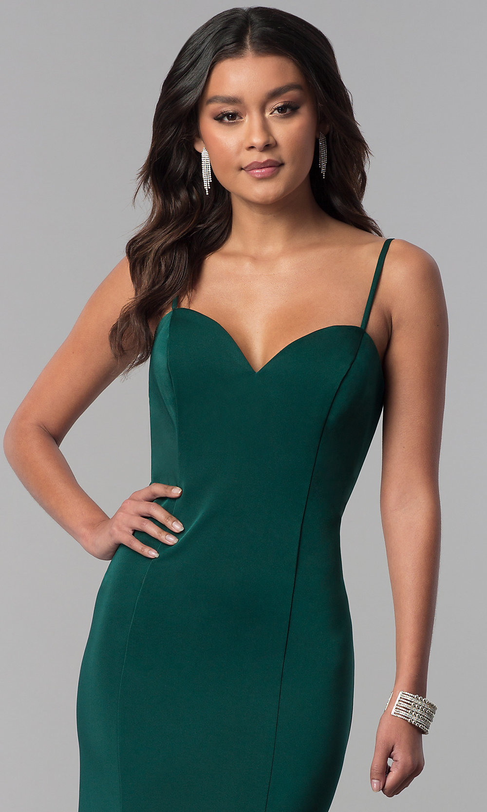 ae6711e96f Long Green Sweetheart Prom Dress by Dave and Johnny