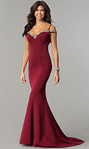Long Off-the-Shoulder Prom Dress with Straps