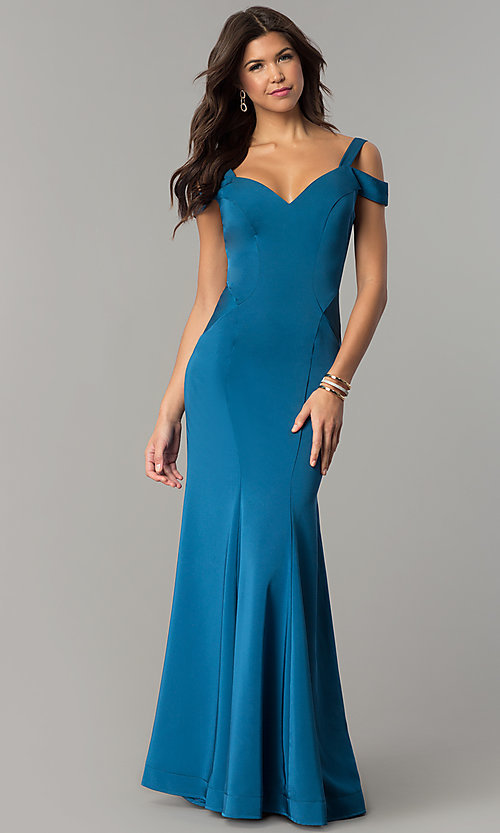 Image of cold-shoulder long satin mermaid prom dress. Style: DJ-A6425 Front Image