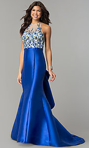 Dave and Johnny Long Mermaid Prom Dress with Embroidery