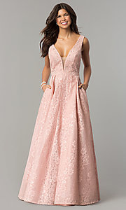 V-Neck Long Lace Prom Dress