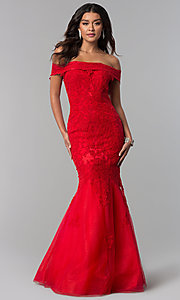 Long Lace-Appliqued Dave and Johnny Prom Dress
