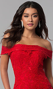 Image of long lace-appliqued Dave and Johnny prom dress. Style: DJ-3377 Detail Image 1
