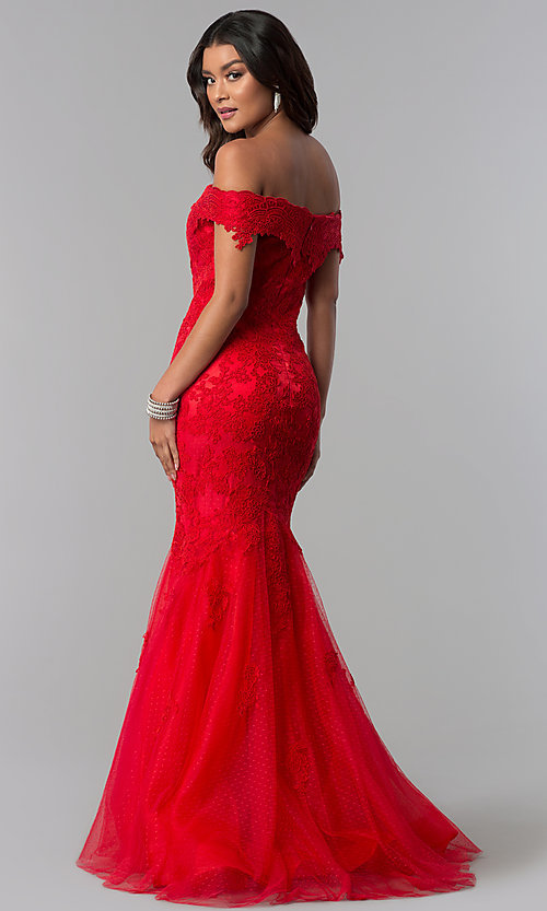 Image of long lace-appliqued Dave and Johnny prom dress. Style: DJ-3377 Back Image
