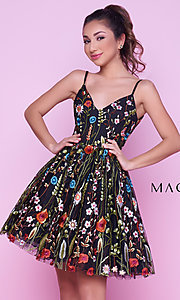 Short Embroidered Print V-Neck Mac Duggal Homecoming Dress