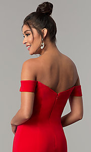 Image of red off-the-shoulder sweetheart prom dress. Style: DJ-A6086 Detail Image 2