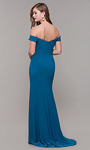 Image of red off-the-shoulder sweetheart prom dress. Style: DJ-A6086 Detail Image 7