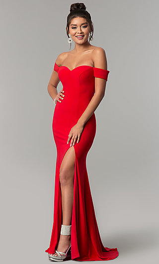 Long Red Off-the-Shoulder Prom Dress - PromGirl