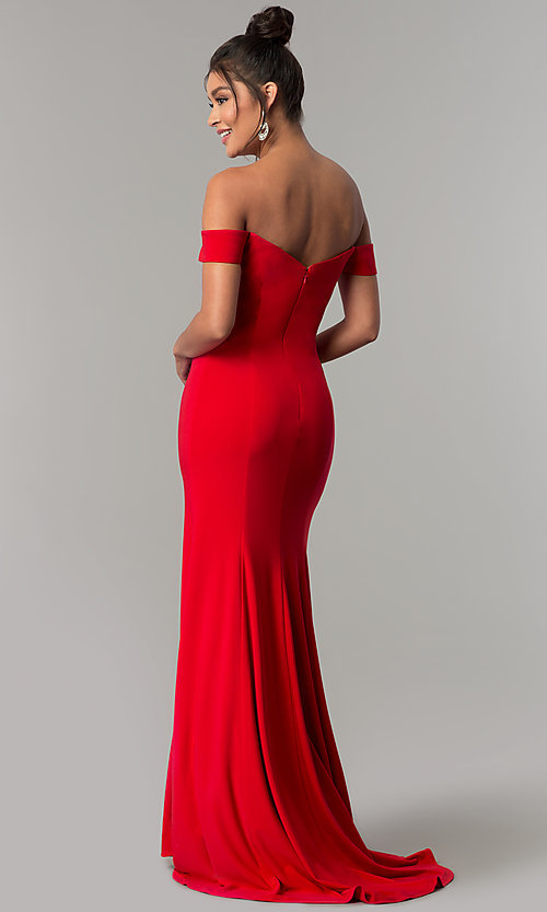 Image of red off-the-shoulder sweetheart prom dress. Style: DJ-A6086 Back Image