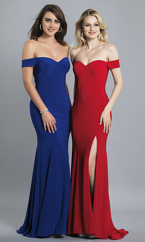 Image of long off-the-shoulder sweetheart prom dress. Style: DJ-A6086 Detail Image 6