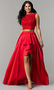 High-Low Red A-Line Prom Dress