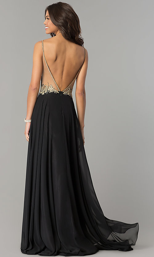 Image of open-back illusion-sweetheart long prom dress. Style: DJ-3116 Back Image