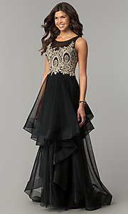 Long Black Layered A-Line Formal Dress