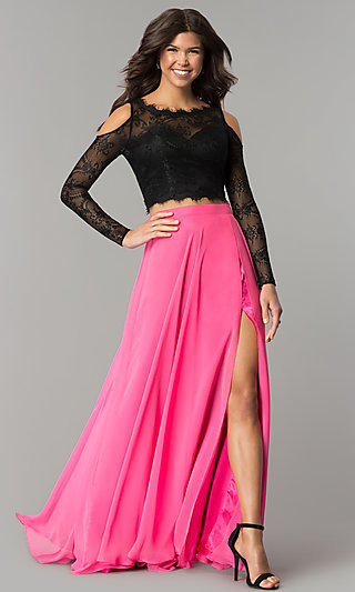 Two-Piece Long Sleeve Cold Shoulder Long Prom Dress