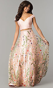 Two-Piece Off-the-Shoulder Embroidered Prom Dress