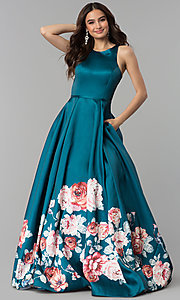 Image of long floral-print teal prom dress by Blush. Style: BL-11136T Front Image