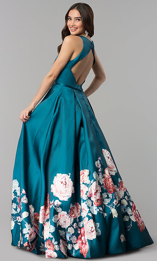 Image of long floral-print teal prom dress by Blush. Style: BL-11136T Back Image