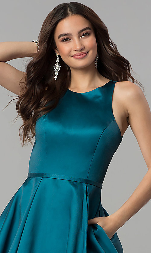 Image of long floral-print teal prom dress by Blush. Style: BL-11136T Detail Image 1