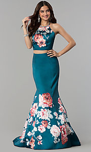 Image of long two-piece print mermaid prom dress by Blush. Style: BL-11137T Front Image