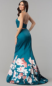 Image of long two-piece print mermaid prom dress by Blush. Style: BL-11137T Back Image