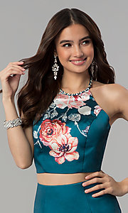 Image of long two-piece print mermaid prom dress by Blush. Style: BL-11137T Detail Image 1