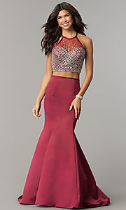Two-Piece Prom Dress with Long Mermaid Skirt