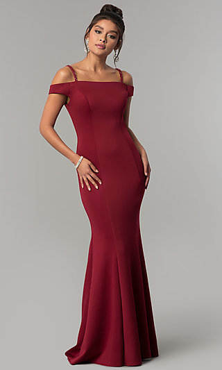 Burgundy Off-the-Shoulder Prom Dress with Straps