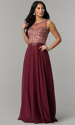 Long Chiffon Prom Dress with Embellished Bodice