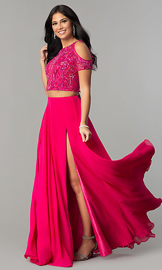 Long Bateau-Neck Prom Dress with Short Sleeves