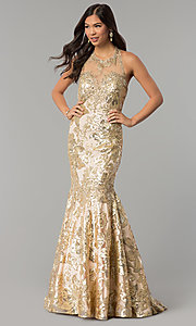 Sequin Open-Back Dave and Johnny Prom Dress