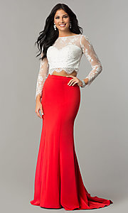 Long Illusion-Sweetheart Prom Dress with Long Sleeves