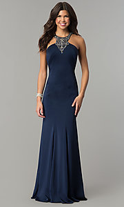 High-Neck Long Navy Blue Prom Dress