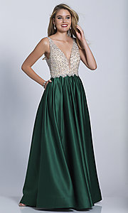 Image of v-neck Dave and Johnny long prom dress. Style: DJ-A6395 Detail Image 8