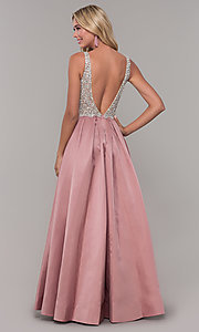 Image of v-neck Dave and Johnny long prom dress. Style: DJ-A6395 Detail Image 3