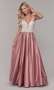 Image of v-neck Dave and Johnny long prom dress. Style: DJ-A6395 Detail Image 7