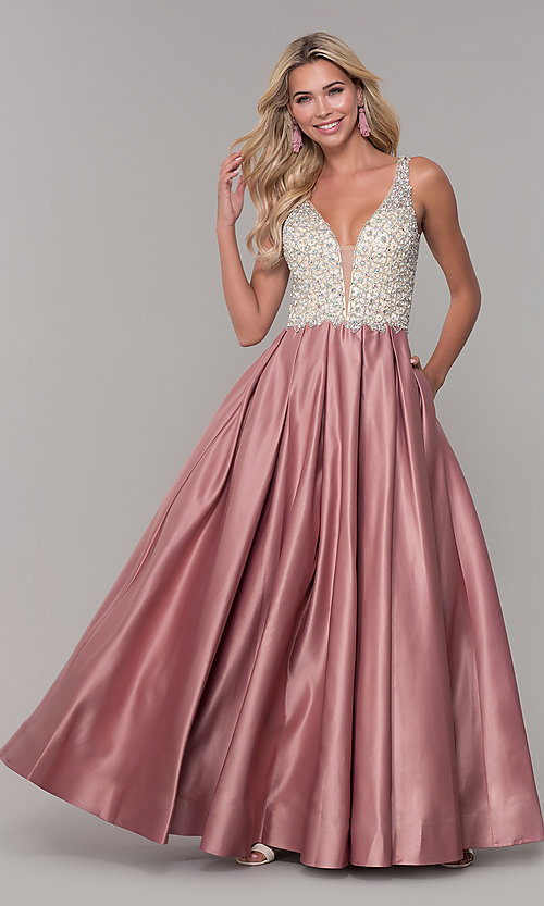 Image of v-neck Dave and Johnny long prom dress. Style: DJ-A6395 Front Image