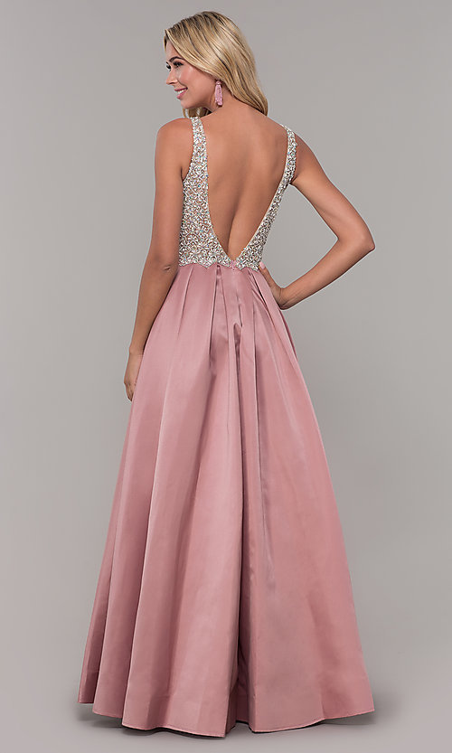 Image of v-neck Dave and Johnny long prom dress. Style: DJ-A6395 Back Image