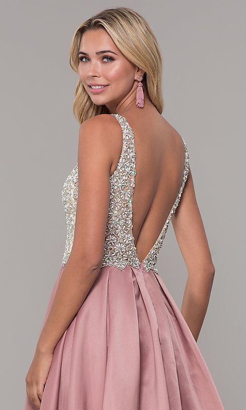 Image of v-neck Dave and Johnny long prom dress. Style: DJ-A6395 Detail Image 6
