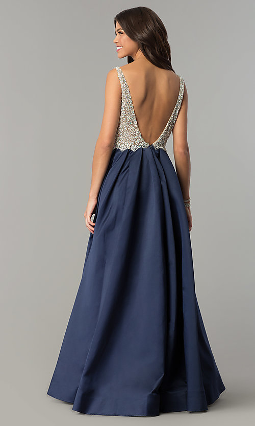 Image of v-neck Dave and Johnny long prom dress. Style: DJ-A6395 Detail Image 5