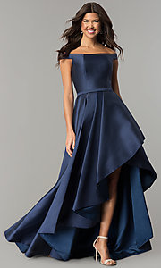 Off-the-Shoulder High-Low Prom Dress