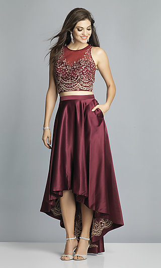 High-Low Two-Piece Embroidered Prom Dress