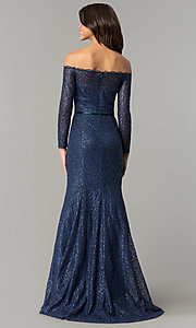Image of off-the-shoulder navy blue prom dress. Style: DJ-A5840 Back Image