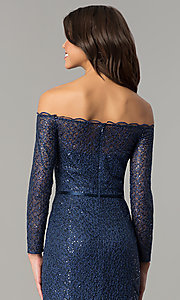 Image of off-the-shoulder navy blue prom dress. Style: DJ-A5840 Detail Image 2