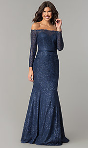 Image of off-the-shoulder navy blue prom dress. Style: DJ-A5840 Front Image