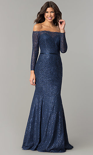 c6d22c8ec67a Off-the-Shoulder Navy Blue Prom Dress